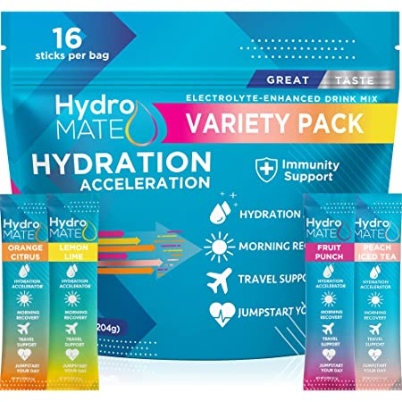 HydroMATE Electrolyte Powder Packets Drink Mix Hydration Accelerator, Rapid Hydrate Powder, Low Sugar, Single-Serving Stick, Rehydrate Fast, Hangover Party Recovery + 1000mg Vitamin C Variety Bag