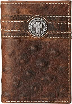Ariat - Cross Concho Ostrich Tri-Fold Wallet