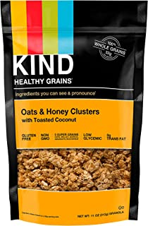 KIND Healthy Grains Clusters, Oats and Honey with Toasted Coconut Granola, Gluten Free, 11 Ounce (Pack of 1)