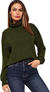SweatyRocks Women's Mock Neck Drop Shoulder Lantern Long Sleeve Sweatshirt Pullover Top Shirt