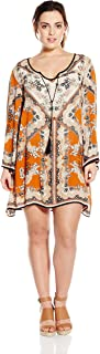 Angie Women's Juniors Plus-Size Spice Printed Bell-Sleeve Dress