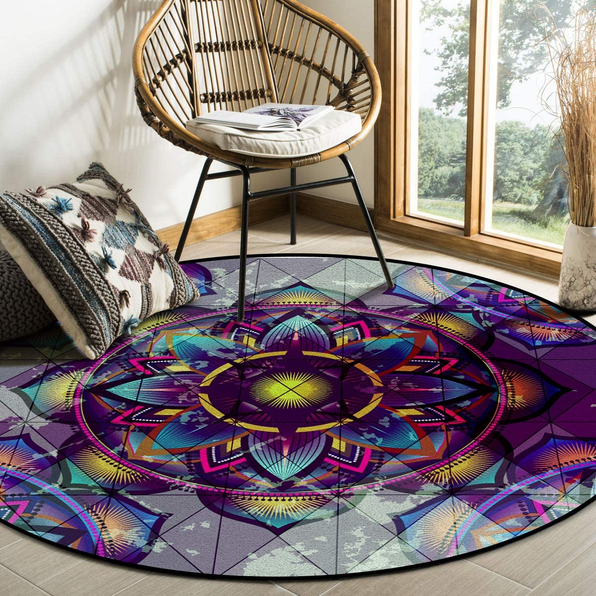 Outlet SALE Round Area Rugs Children Crawling Non-Slip Lotus Reside Free shipping Mat