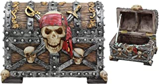 Ebros Large Pirate Ghosts Of The Caribbean Pirate Marauder Skull With Criss Cross Blades Treasure Chest Box Jewelry Box Fi...