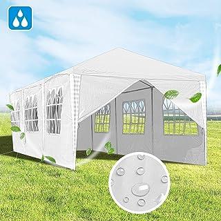 Hengda 3x9m Pabellón Impermeables Carpa para Fiesta Blanca Cenadores para Jardin con 8 Partes Laterales para el Mercado del jardín de Bodas