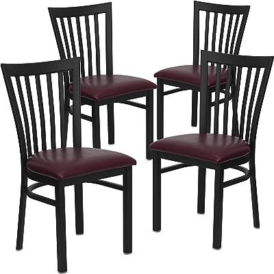 Flash Furniture 4 Pk. HERCULES Series Black School House Back Metal Restaurant Chair - Burgundy Vinyl Seat