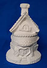 Fairy Easter Egg Shaped House #3 with Heart Door unpainted ceramic bisque ready to be painted Village