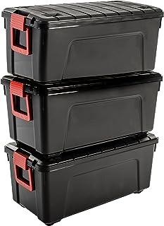 Iris Ohyama, Lot de 3 Boîtes de Rangement, Bricolage, 75 L, avec Roues et Poignée, Mobile, Garage, Jardin - Store It All B...