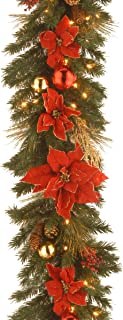 National Tree 9 Foot by 12 Inch Decorative Collection Home Spun Garland with Gold Twigs, Red Berries, Poinsettia and 100 Clear Lights (DC13-111L-9B)