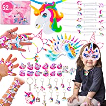 ARTarlei 52 Pack Party Favors Supplies, Masks, Rings, Bracelets, Keychains, Tattoos, Games, Kids Girls Birthday Novel Rainbow Gifts Toys, for 12 Guests