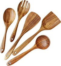 Wooden Utensils Set for Kitchen, ADLORYEA Wood Cooking Spoons Tools for Nonstick Cookware, 100% Handmade by Natural Teak Wood Without Any Painting