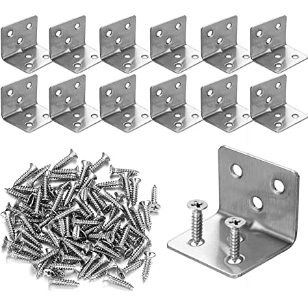10pcs-40mm//10pcs-20mm SUI-lim Corner Braces Set Stainless Steel L Shaped Bracket Steel Joint Right Angle Bracket Fastener with 60 Pcs Screws for Wood Chair Bookshelf Window Furniture Cabinet