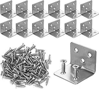 12PCS Stainless Steel Corner Braces 30x30x38mm,Heavy Duty Corner Steel Joint Right Angle L Bracket for Shelves Furniture Wood Wall Hanging Fastener,Reinforce Bracket,Package Include Screws