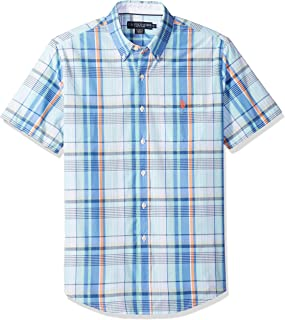 U.S. Polo Assn. Men's Short Sleeve Classic Fit Plaid Shirt, Blue Sail, S