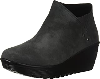 Women's Parallel-Ditto-Asymmetrical Collar Suede Bootie Ankle Boot, Charcoal, 12 M US