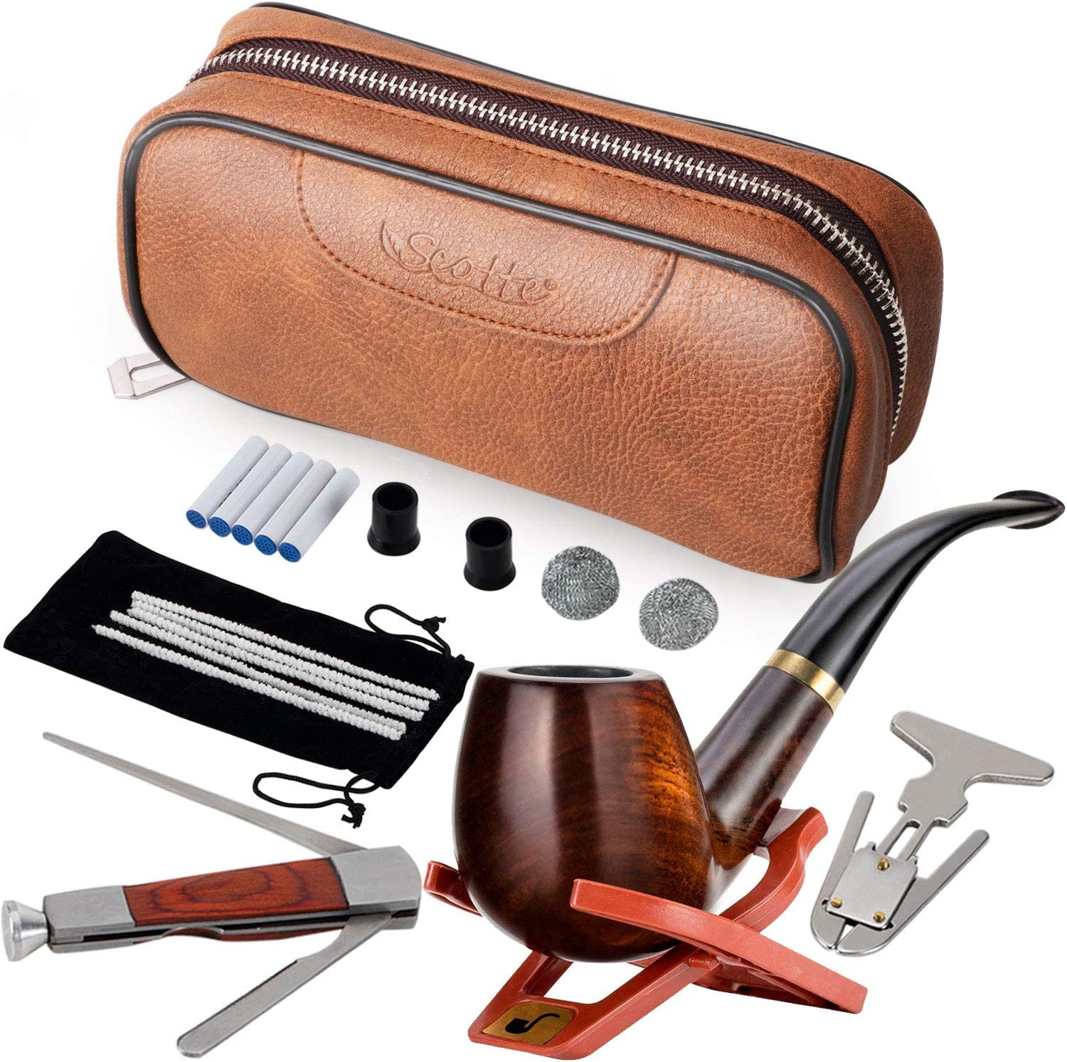 Max 43% OFF Scotte Tobacco Smoking Pipe Pouch favorite Leather Wood Pear
