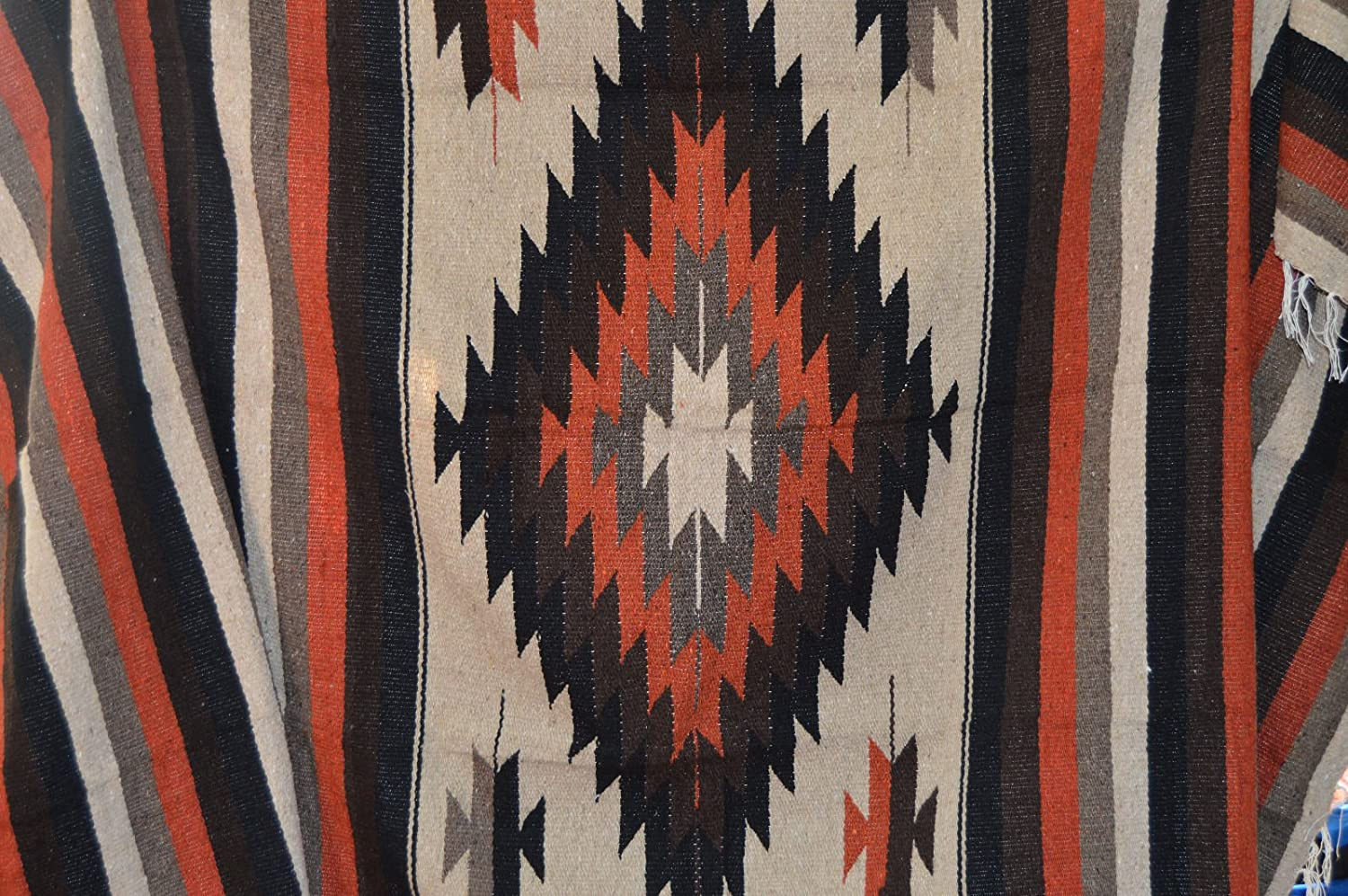Galaxy Reborn Mexican Blanket Tribal Diamond Burnt Umbre 80 x 48 Authentic Premium XLarge Handwoven Southwestern Throw Serape Yoga Rug