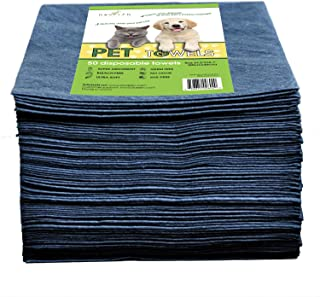 DAVELEN Disposable Pet Towels (50-Pack), Super Absorbent, for Small, Medium, Large Dogs & Cats   Paws, Fur, Body Use   Ble...