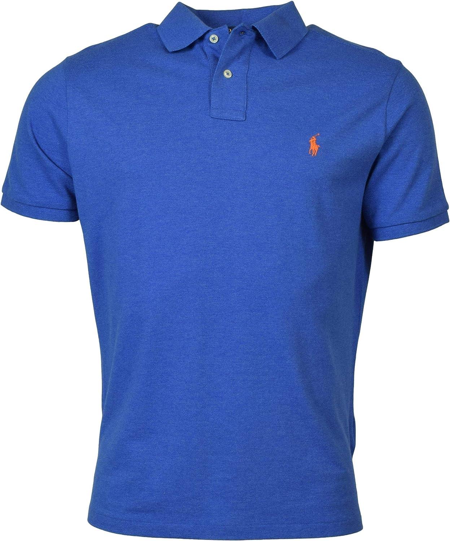 Polo Ralph Lauren Men's Custom Slim Fit Solid Mesh Polo Shirt - XL - Blue Heather