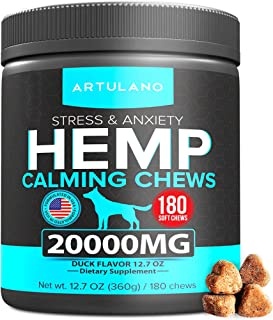 Hemp Calming Treats for Dogs - Made in Usa - 180 Soft Dog Calming Treats - Aids Stress, Anxiety, Storms, Barking, Separati...
