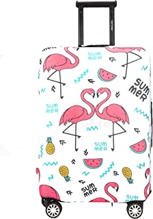 Periea Premium 3mm Elasticated Suitcase Luggage Cover - 38 Different Designs - Small, Medium or Large (White with Summer Flamingos, Small)