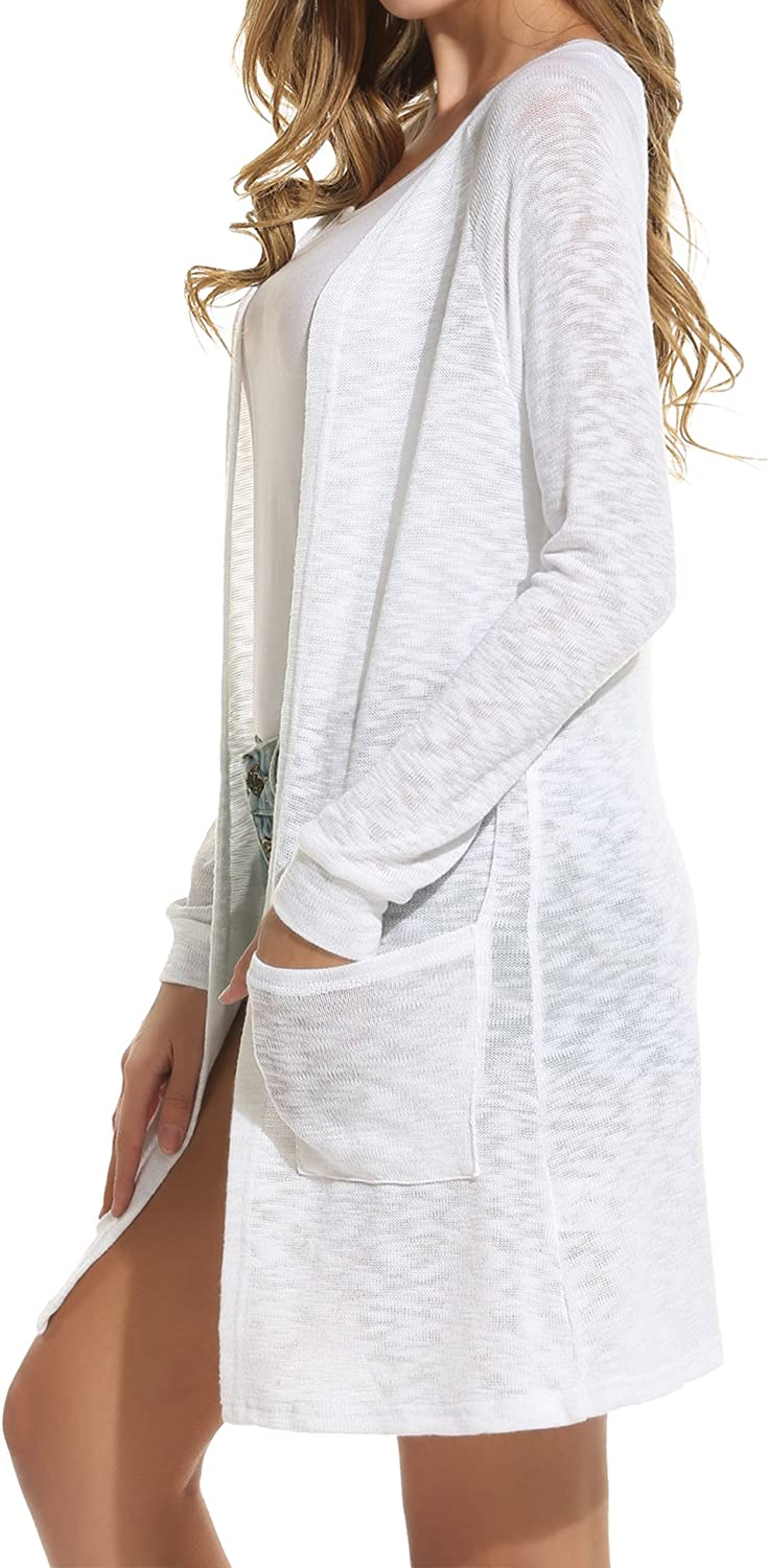 ELESOL Women's Cardigan Sweater, Loose Casual Open Front with Pockets Long Sleeved for Sun-Screening, S-XXL
