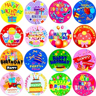 240 Pieces Happy Birthday Stickers Personalized Birthday Party Labels for Kids Adults Party Favor, Envelopes, Cards, 16 Styles