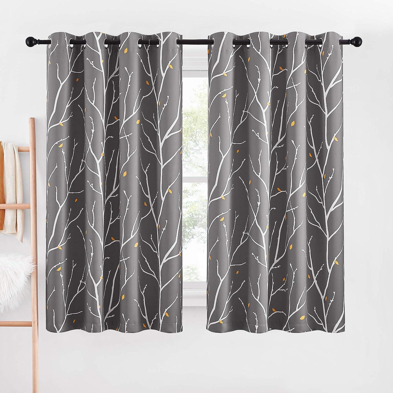 NICETOWN Room Darkening Tree Branch Curtains with Flower-rain for Windows 63