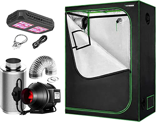 lowest VIVOSUN 48''x24''x60'' Mylar Hydroponic Grow Tent with new arrival 4 Inch Inline Fan Package and 300W LED 2021 Grow Light, for Indoor Plants Growing outlet online sale