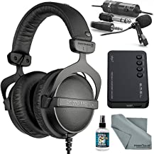 Beyerdynamic DT770 PRO 32 ohms Headphones with Amplifier, Cleaner, Lavalier Mic, and FiberTique Cleaning Cloth