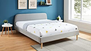 HOMIFAB Lit Adulte scandinave 160x200 Gris Clair - Collection Gaby