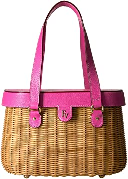 Arielle Wicker Satchel with Lid