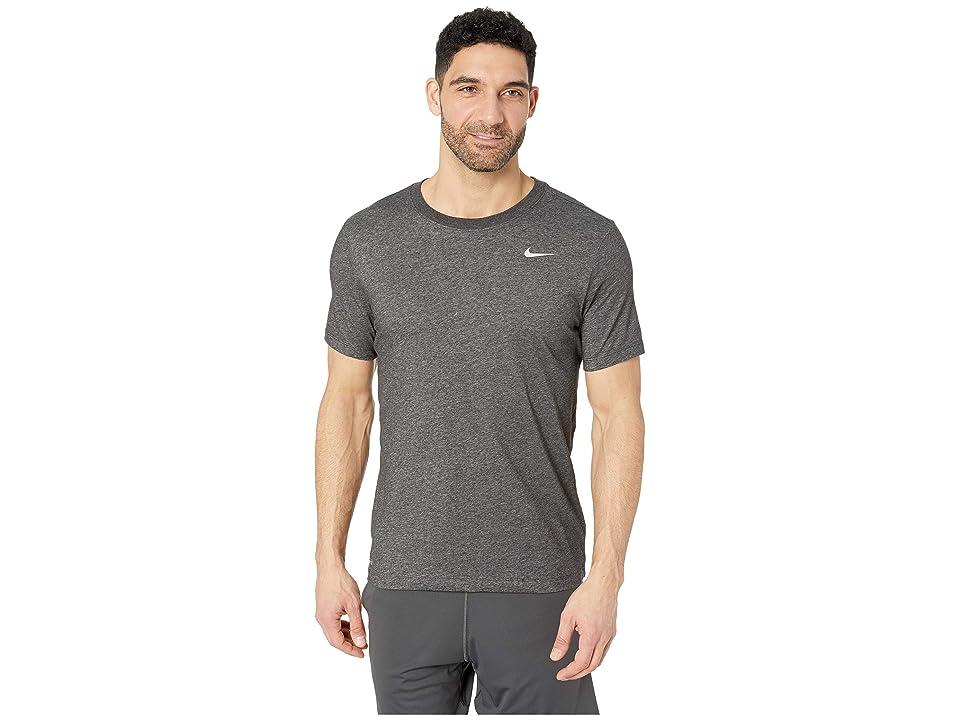 Nike Dry Tee Dri-FITtm Cotton Crew Solid (Black Heather/Matte Silver) Men