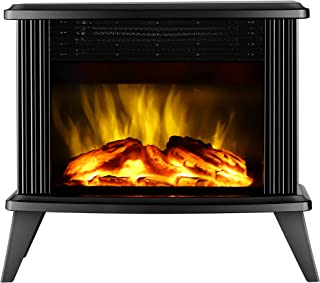 DONYER POWER Mini Electric Fireplace Tabletop Portable Heater,14.8'' (Black, Metal)
