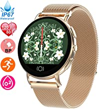 HR Monitor Watch & Ultra Thin Fitness Tracker for Women Men, Blood Pressure Oxygen Monitor Smart Watch with GPS Pedometer Calorie Counter, Activity Tracker with Stainless Steel Band for Xmas Gifts