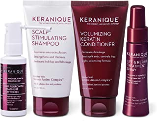 Keranique Hair Regrowth System 30 Days - Keratin Amino Complex - Free of Sulfates Dyes Parabens, Includes S...
