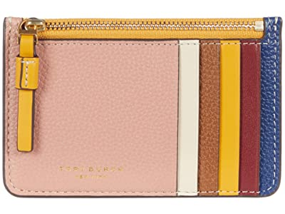Tory Burch Perry Color-Block Top Zip Card Case (Pink Moon/Moose) Credit card Wallet