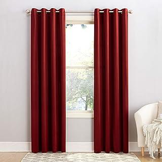 "Sun Zero Barrow Energy Efficient Grommet Curtain Panel, 54"" x 84"", Red"