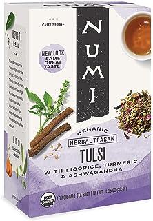 Numi Organic Tea Tulsi, 16 Count Box of Tea Bags (Pack of 6) Holistic Herbal Teasan (Packaging May Vary)