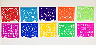 Colorful Dia de Muertos decoration Small Size 2 Pack Tissue Paper Mexican Papel Picado banner.