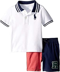 Mesh Polo and Twill Shorts Set (Infant)