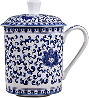 BandTie Convenient Travel Home Office Chinese Gongfu Loose Leaf Tea/Coffee Brewing System- Bone China Porcelain Tea Cup/Coffee Cup/Tea Mug/Coffee Mug Personal Teacup with Tea Cup Lid,Blue Flowers