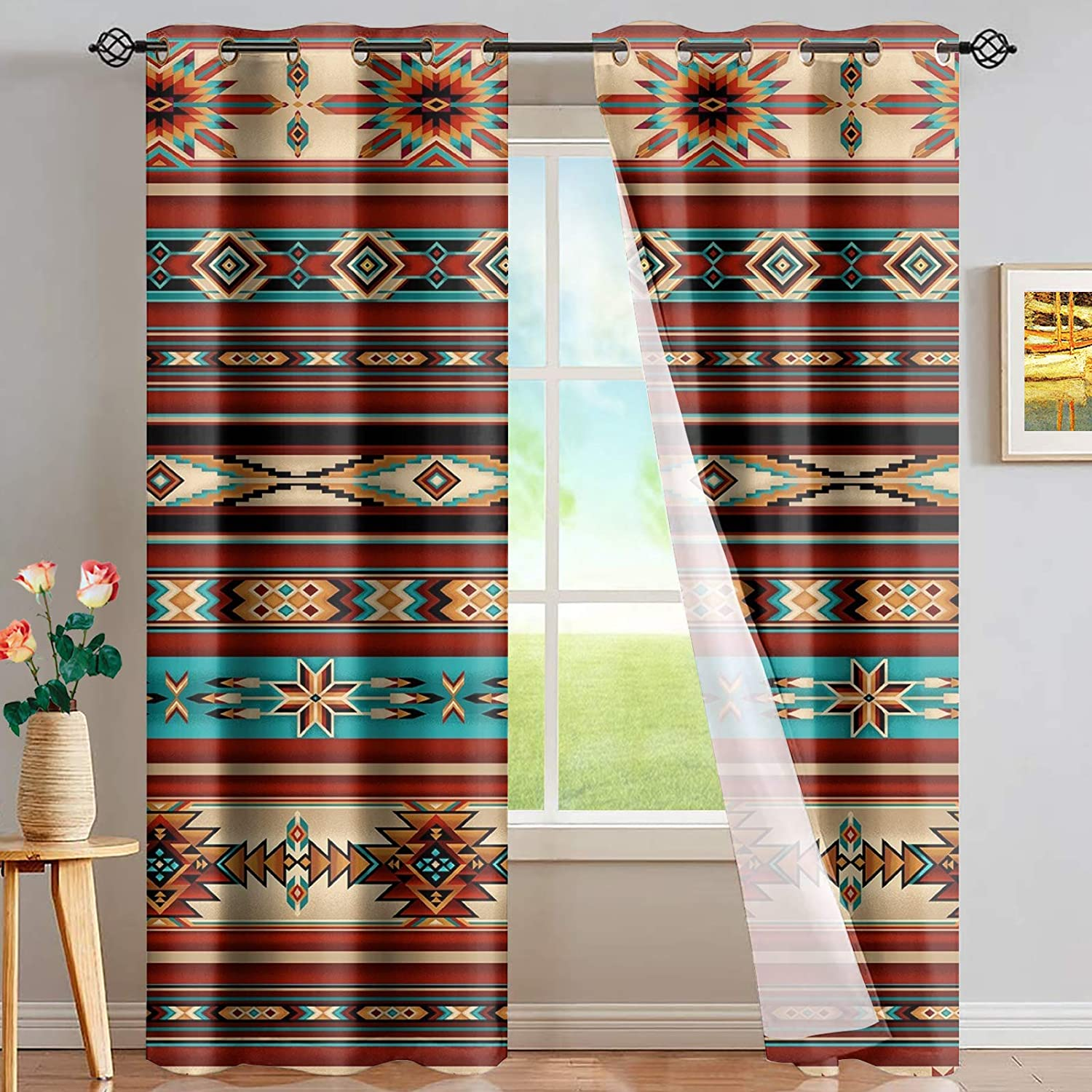 Max 47% OFF UNICEU Southwestern Curtains half for Living Aztec Tribal Geome Room