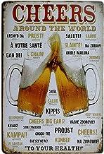 Placa de lata vintage ERLOOD Cheers Around The World Drinking envelhecida metal retrô decoração de parede 20,32 x 30,48 cm