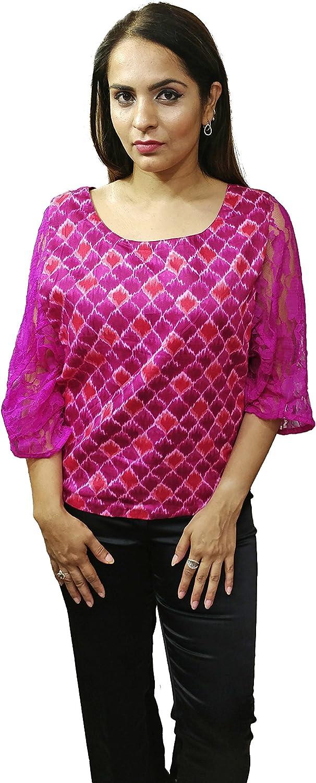 Designer Pink Printed and Plain Reversible Top