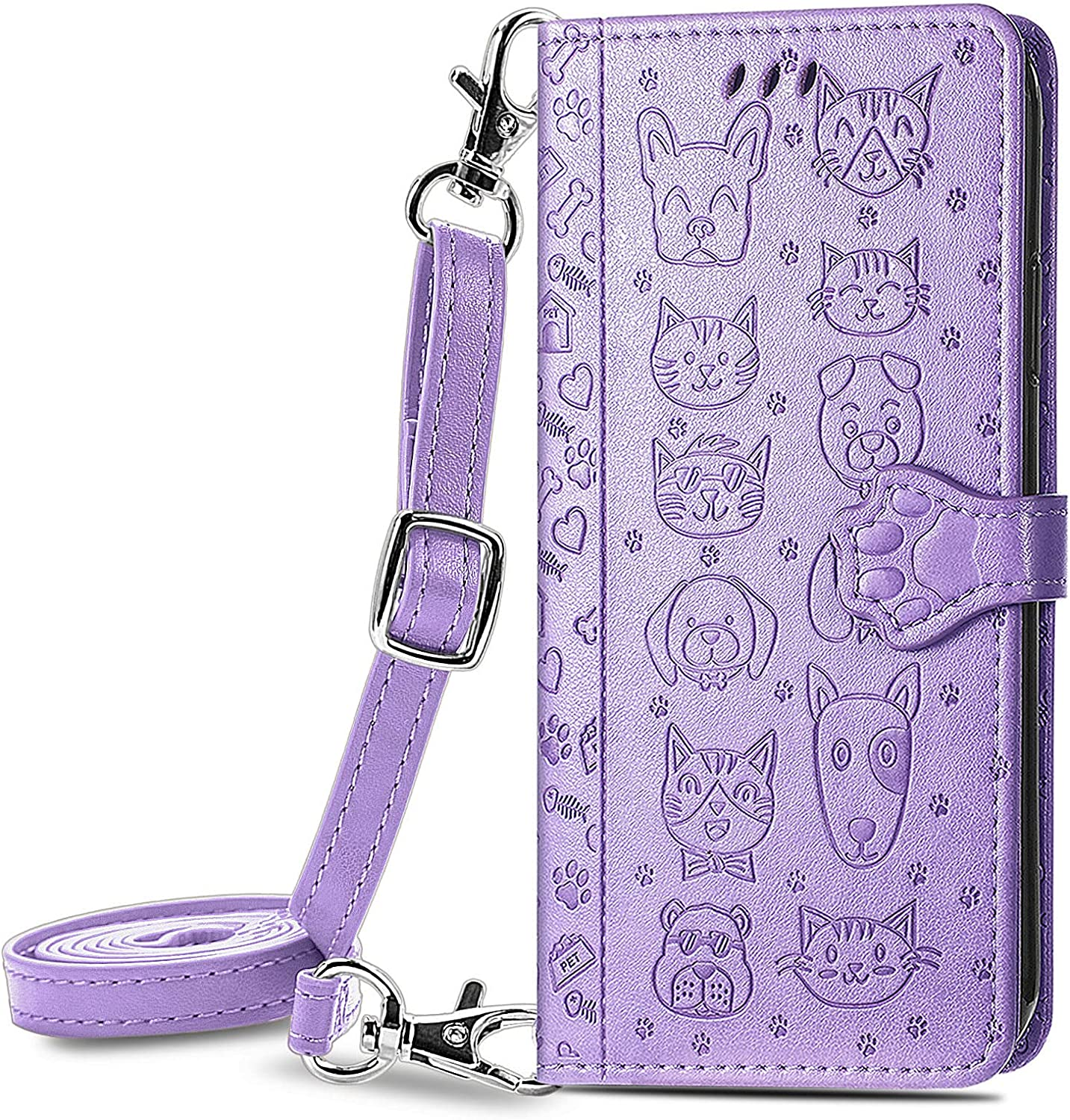 DAMONDY Case for ZTE Zmax 10,Leather Wallet Case with Lanyard Detachable Strap Designs for Girls Women,with Kickstand Card Slots Cover,Protective Phone Case for ZTE Zmax 10 -Purple