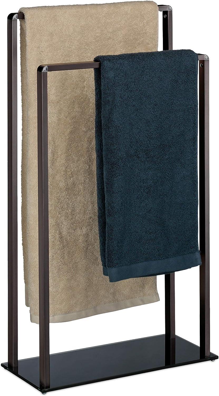 Relaxdays Handtuchständer freistehend, 2 Stangen, modern, Metall, Handtuchhalter, HxBxT  80 x 45 x 20 cm, Bronze-schwarz B07L42LQSF