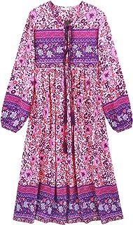 Women's Long Sleeve Floral Print Retro V Neck Tassel Bohemian Midi Dresses