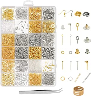 Earring Making Supplies,LANMOK 2416pcs Jewelry Making Kits in Earring Backs Earring Hooks Earring Posts for DIY Beginners Adults Crafters