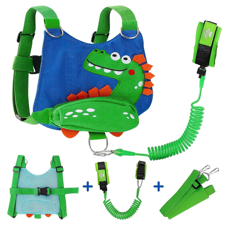 Toddler Leash for Boys, 4-in-1 Leash for Kids, Toddler Harness with Leash, Toddler Leash for Walking with Safety Wrist Link (Dinosaur)