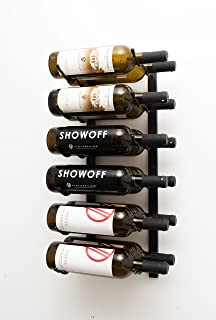 VintageView Wall Series-12 Bottle Wall Mounted Wine Rack (Satin Black) Stylish Modern Wine Storage with Label Forward Design